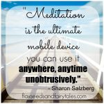 """""""Meditation is the ultimate mobile device; you can use it anywhere, anytime, unobtrusively."""" - Sharon Salzberg; Visit Flaxseeds & Fairytales for more meditation humor and funny mindfulness quotes!"""