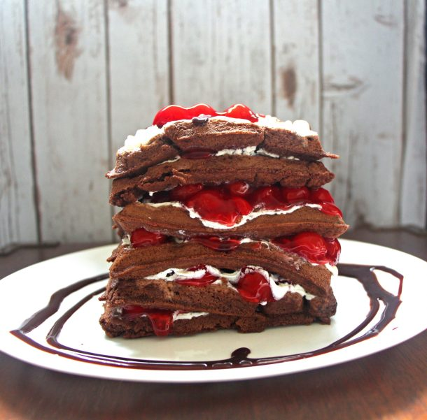 This chocolate cherry waffle cake is an awesome waffle cake recipe that's perfect for Valentine's Day Breakfast