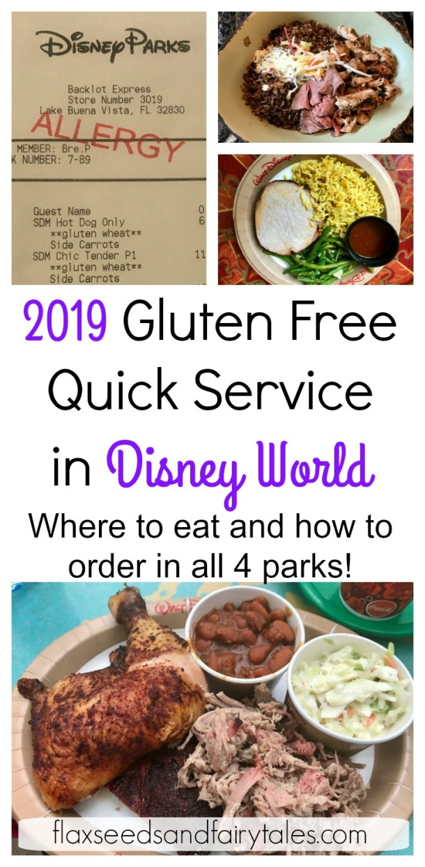 Looking for the BEST gluten free quick service options in Disney World? This complete 2019 guide will show you where to eat and how to order allergy friendly meals in Magic Kingdom, Epcot, Animal Kingdom, and Hollywood Studios! Discover the safest gluten free options for celiacs. Also includes dairy free and vegetarian options. This easy guide has all you need to have a tasty gluten free vacation at the Disney World Resort with your family. #disneyworld #glutenfree #allergyfriendly