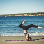 Girl doing a funny yoga post! 18 funny yoga quotes that will make you laugh and improve your yoga practice!
