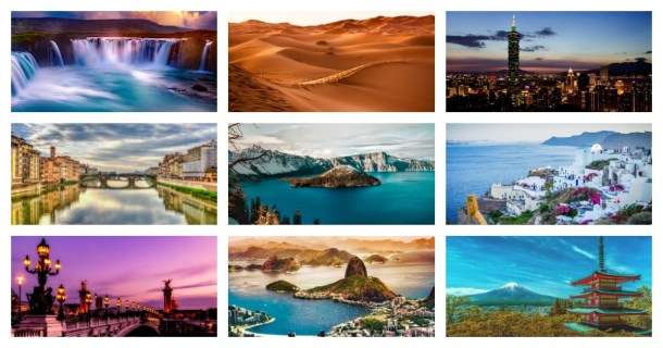 Collage of the top 15 most beautiful places in the world to visit