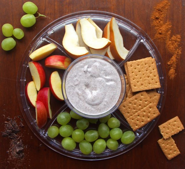 4 ingredient healthy vegan fruit dip is gluten free and dairy free. Made with chocolate shavings and served with fruit.