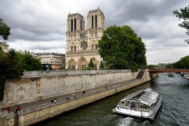 View of Notre Dame de Paris Cathedral from the Seine