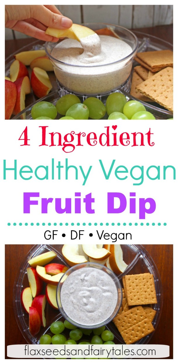 The best HEALTHY FRUIT DIP ever! This easy healthy fruit dip recipe is vegan, dairy free, and gluten free. It's super simple with only 4 ingredients. #veganfruitdip #healthyfruitdip #fruitdiprecipe