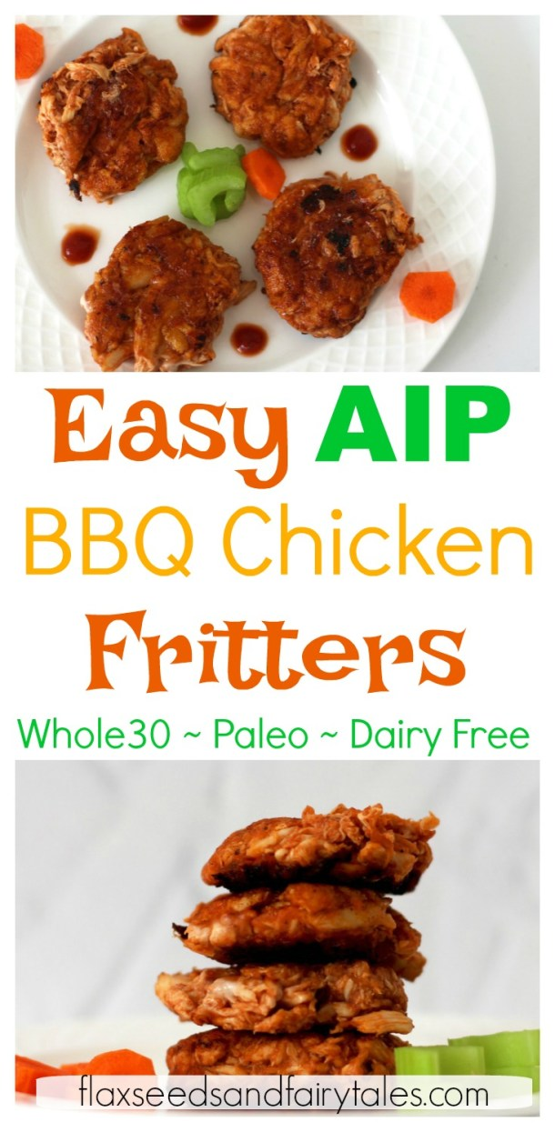 AIP BBQ Chicken Fritters are so delicious and easy to make! They're crispy, flavorful, and healthy. This is a great AIP recipe for kids and anyone on the elimination phase. Plus, it's dairy free, paleo, and Whole30 compliant. A simple AIP chicken recipe, you can enjoy anytime. #eliminationphase #aip #aiprecipes #aipchickenrecipes #aipforkids