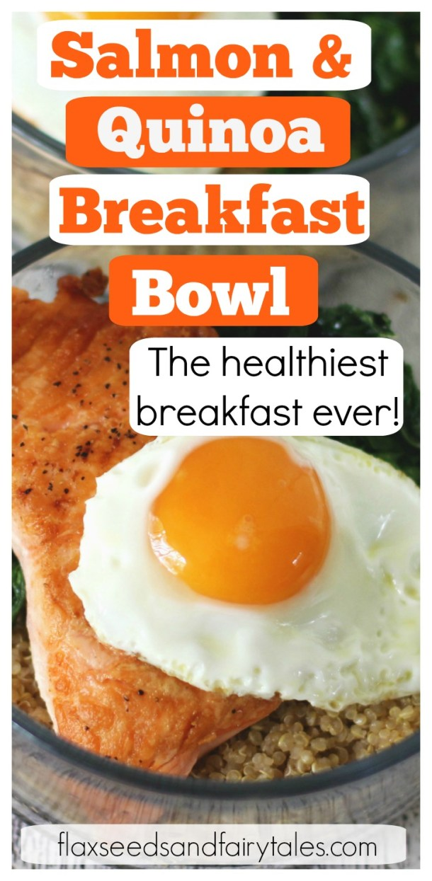 Healthy Salmon and Quinoa Breakfast Bowls are the best make ahead healthy breakfast! It's a simple breakfast meal prep with eggs that's great for clean eating and weight loss! It's super simple and you can even use leftover cooked salmon! It's the healthiest breakfast in the world! #healthysalmon #makeaheadbreakfast #salmonrecipes #salmonbreakfastbowl