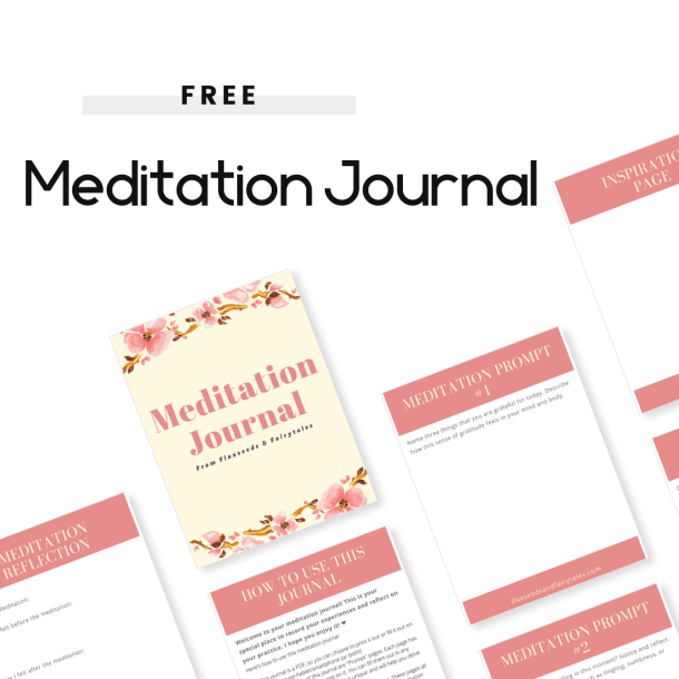 "This image features pink meditation journal pages. The text reads ""Free Meditation Journal"" in black letters."