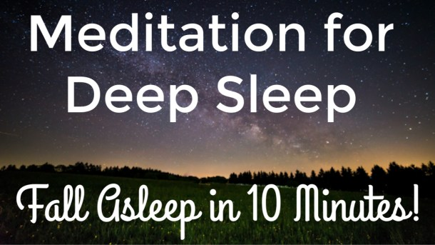 A relaxing night sky image is the background for the Guided Meditation for Deep Sleep