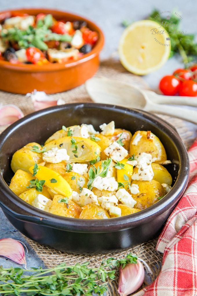 Healthy greek potato recipe with lemon and feta cheese