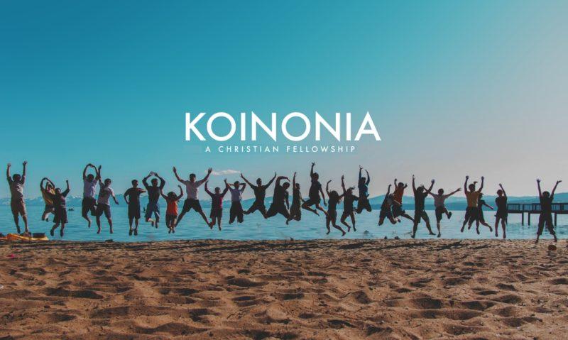 image of joy on beach with koinonia overlay