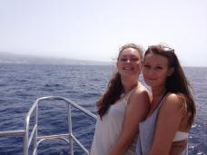 Happy on the Catamaran