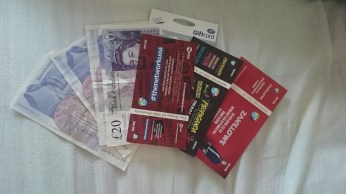 Some money and tickets for events next week!