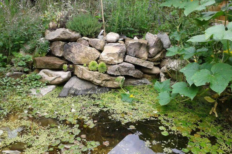 Kräuterspirale nach Bill Mollison mit Zone für Wasser liebende Pflanzen.
