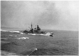 The heavy cruiser Haguro during the battle of the Malacca Strait
