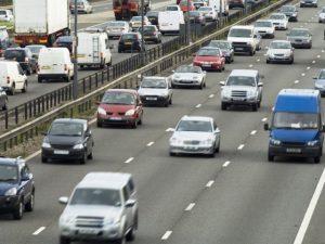 Vehicles in heavy traffic on M6 motorway