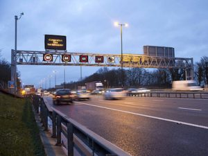 Smart motorway with overhead gantry