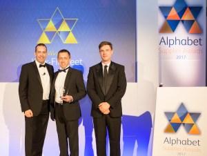 Kwik Fit GB fleet sales director Andy Fern (centre) with Matt Sutherland (left) Alphabet COO and host Ed Gamble.