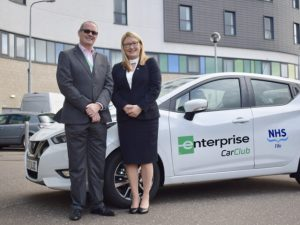 (L to R): Andrew Fairgrieve, NHS Fife Director of Estates, Facilities and Capital Services, and Lindsey Macdonald, Business Rental Strategic Account Manager at Enterprise