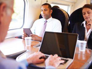 Passengers on train