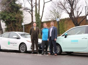 Deputy Leader Cllr Clyde Loakes with Carl Pittam, Head of Network Development UK for Ubeeqo and Tony Barnard, Head of Car Club South East Region forEnterprise