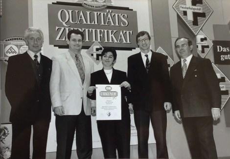 Qualitätsurkunde für den Fleischer Lutz Oleszynski