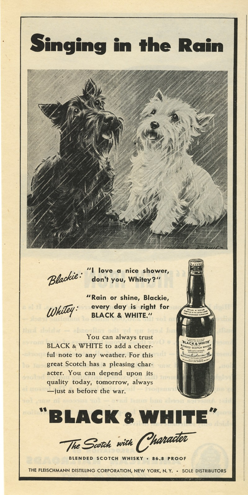 Black and White Whisky Ad 1945