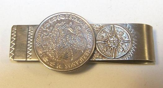 Money clip made from an old Mexican fifty-peso piece.