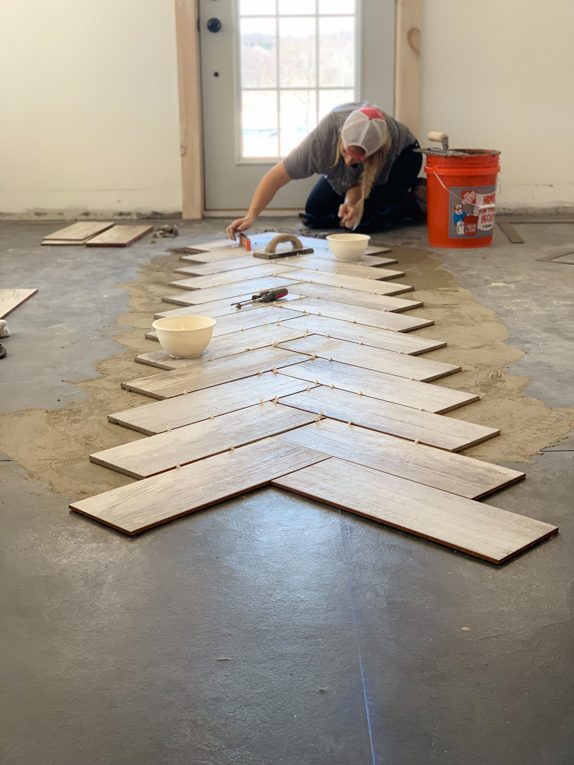 diy herringbone tile flooring