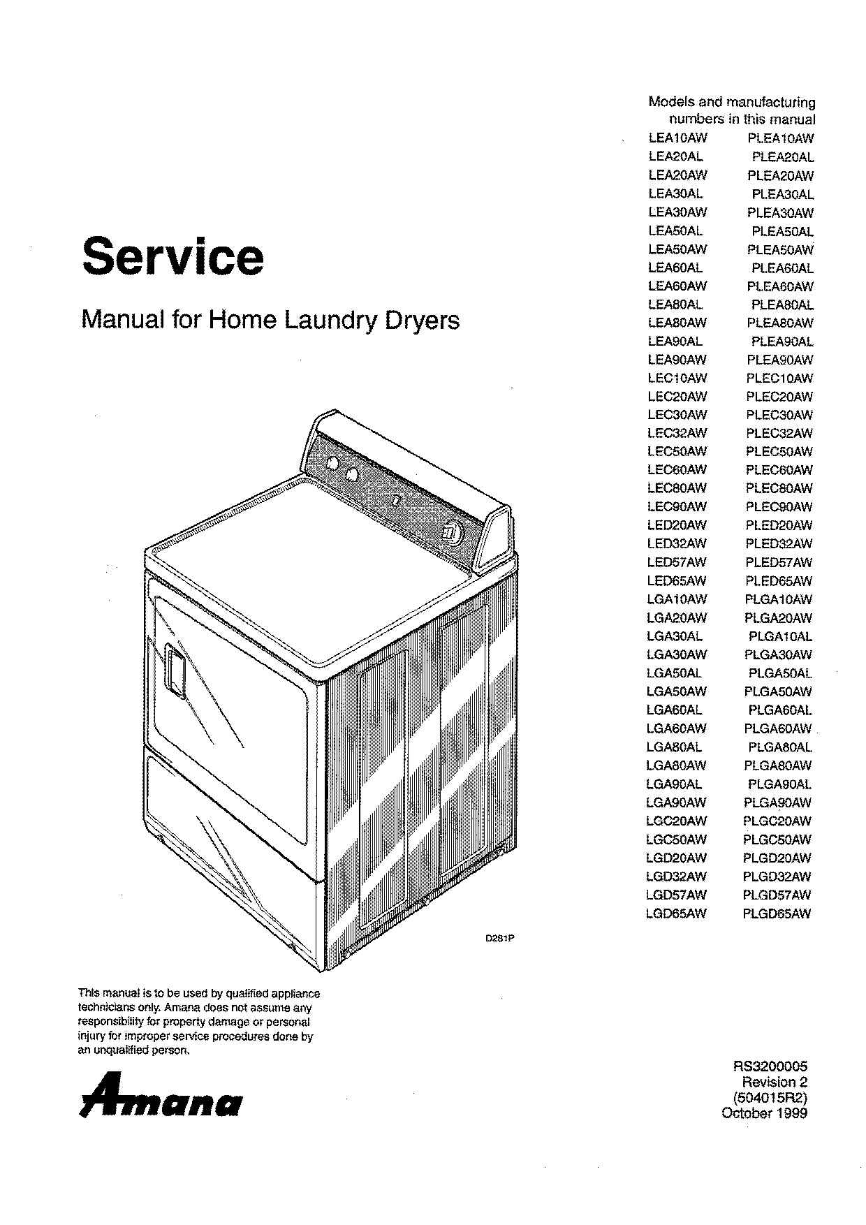 Amana Lea60aw home Laundry dryer Service Manual