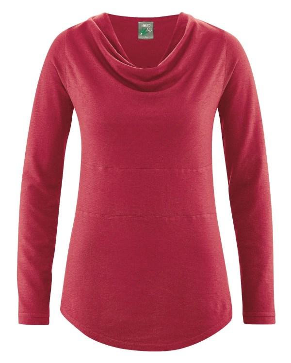 tshirt chanvre col drapé rosé