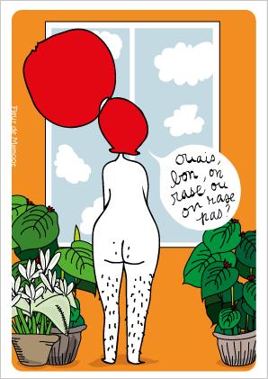 carte postale humour sur le rasage