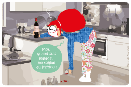 carte postale humoristique sur le vin médoc et le médicament