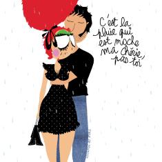 affiche amoureux dessin humoristique