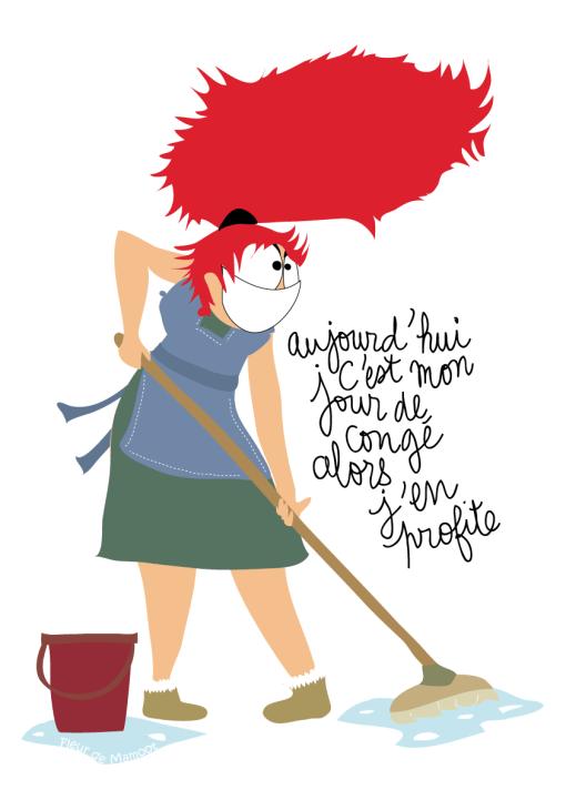 affiche jour de congés dessin humour travaux domestiques