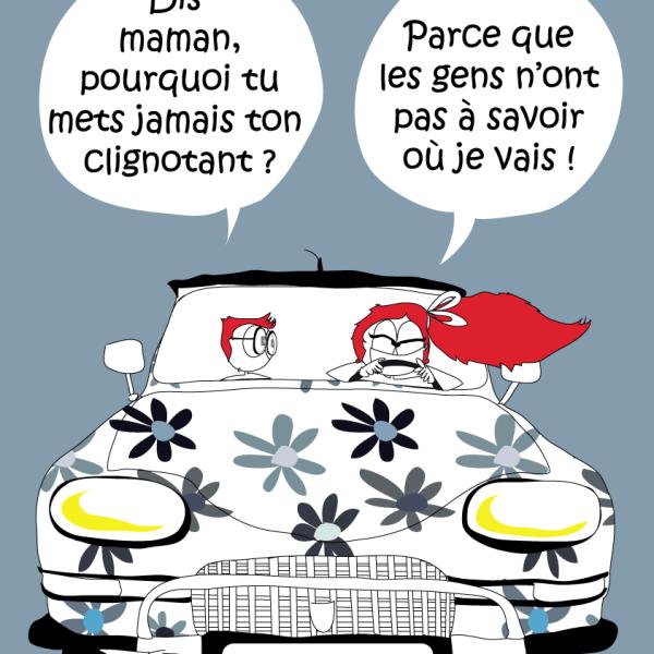 Affiche road trip fleur de mamoot design - Dessin humoristique voiture ...