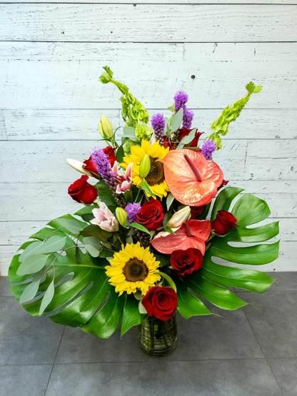 Bouquet de fleurs - Rosé et tournesol - Fleuriste Coin Vert