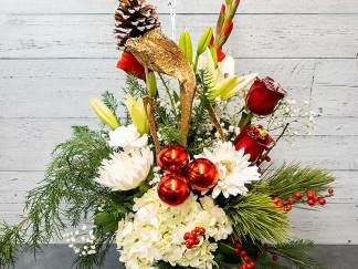 Bouquet arrangement de noël (vase inclus) - Fleuriste Coin Vert | Montréal