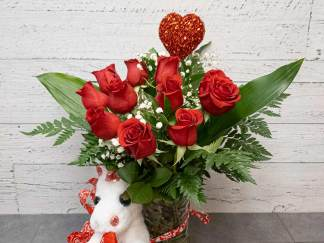 Roses, plush and heart # 1 - Fleuriste Coin Vert | Montréal
