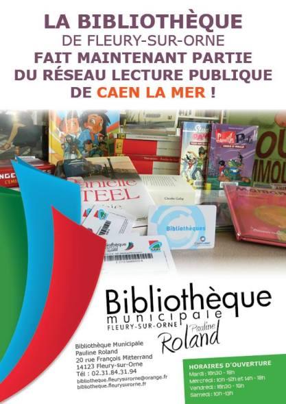 LA BIBLIOTHEQUE de FLEURY-SUR-ORNE fait maintenant partie du réseau lecture publique de CAEN LA MER