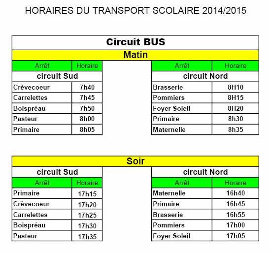 Horaires Transport 2014-2015