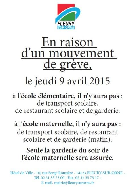 Grève jeudi 9 avril 2015