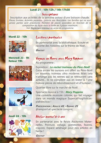 Programme LPT Noël 2015 1ère semaine