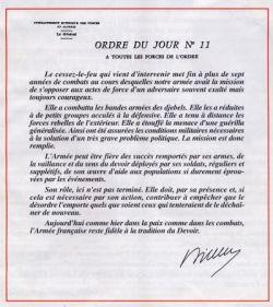 ORDRE DU JOUR du Général AILLERET du 19 mars 1962