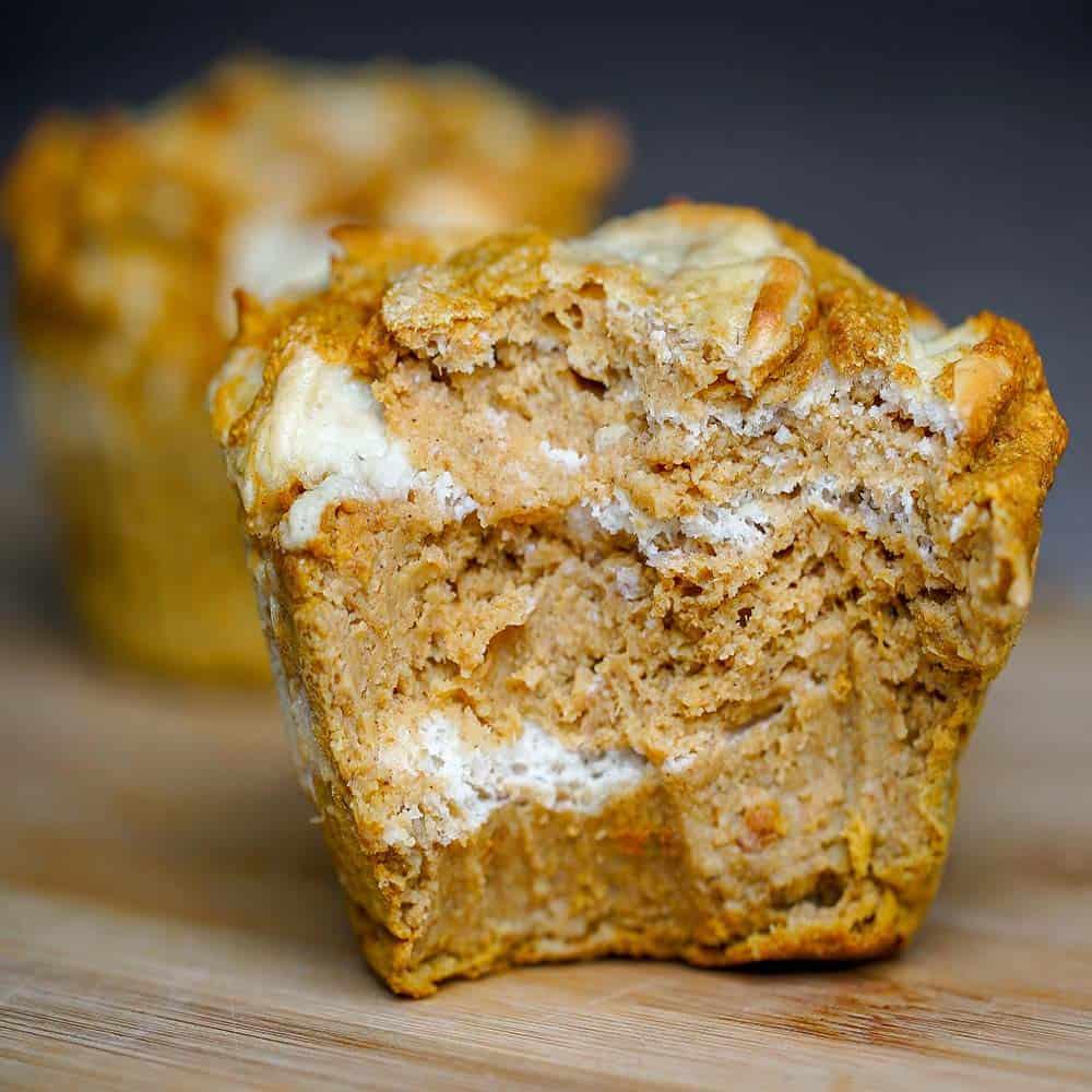 Pumpkin Cheesecake Swirl Protein Jumbo Muffins