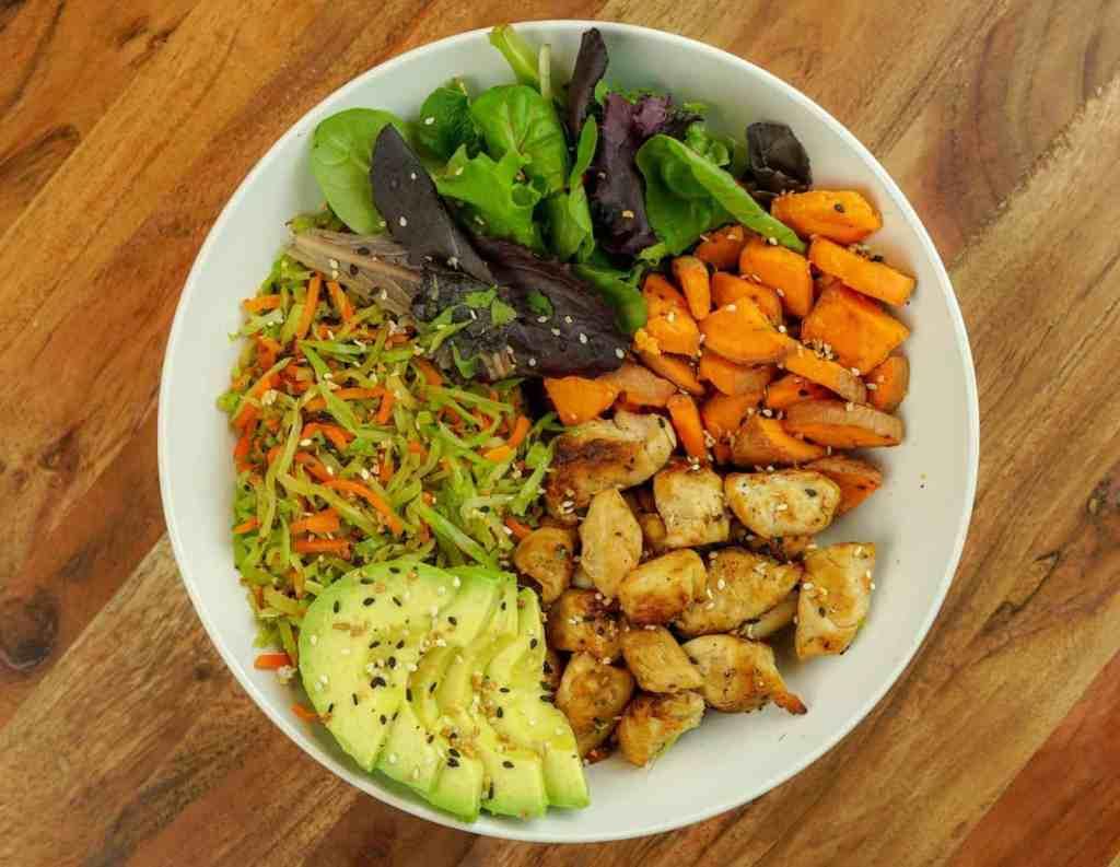 Chicken, Sweet Potato & Avocado Power Bowl (484 Cals)