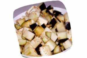 Recette des feuilletés de légumes à la grecque : cubes d'aubergine