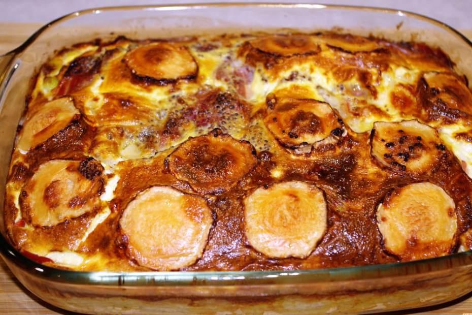 Recette du gratin d'oeufs aux poireaux et jambon