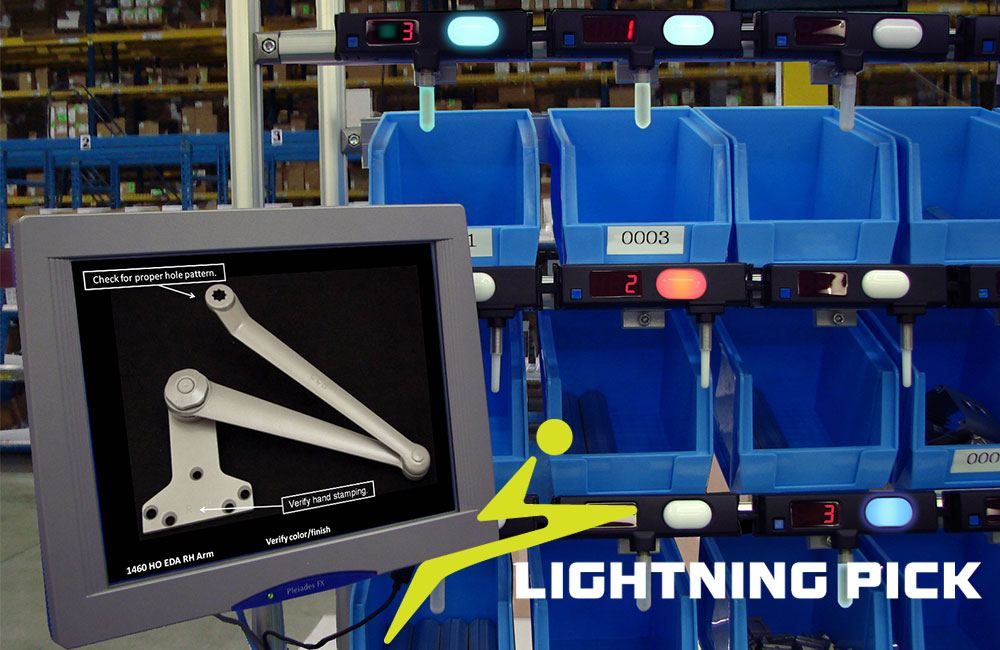 Build2Light pick-to-light system from Lightning Pick, shown with walkthrough screen