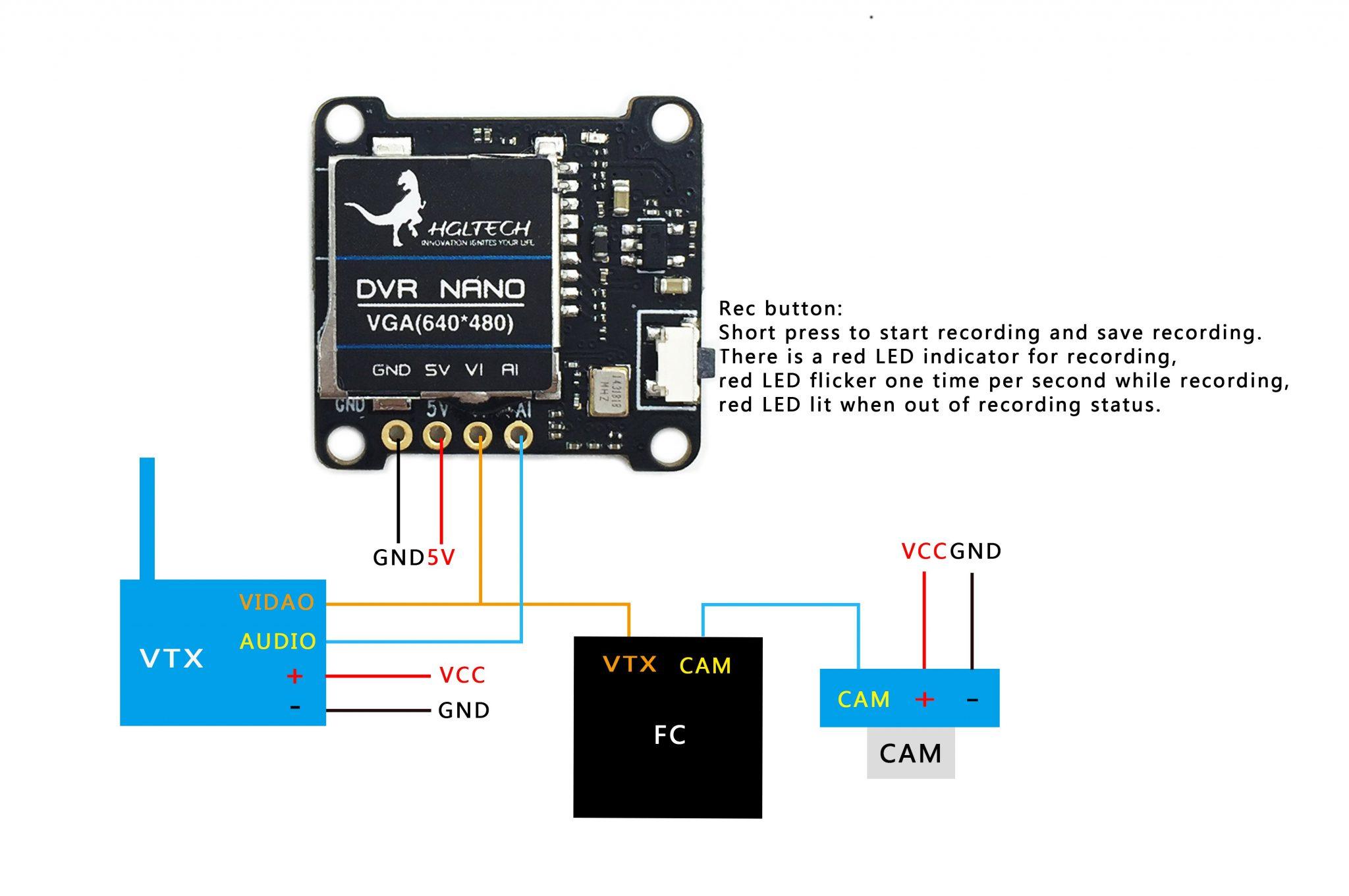 dvr wiring diagram 12 volt alternator hglrc nano video recorder  flex rc