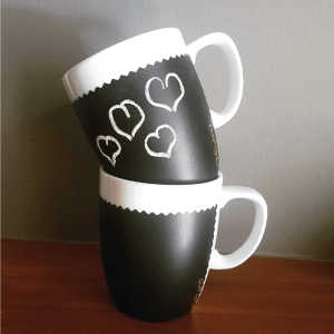 We personally like the idea of using chalkboard paint to turn plain white mugs into unique gifts or handmade products; just like an Instagram user @pa.ge.official has done.